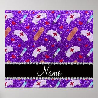 Custom name indigo purple glitter nurse hats heart poster