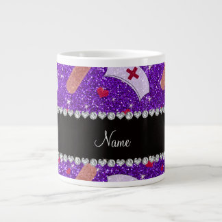 Custom name indigo purple glitter nurse hats heart 20 oz large ceramic coffee mug