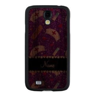 Custom name indigo purple glitter nurse hats heart carved® walnut galaxy s4 case