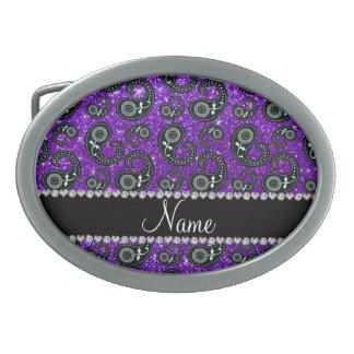 Custom name indigo purple glitter paisley belt buckle
