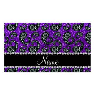 Custom name indigo purple glitter paisley business card template