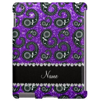 Custom name indigo purple glitter paisley