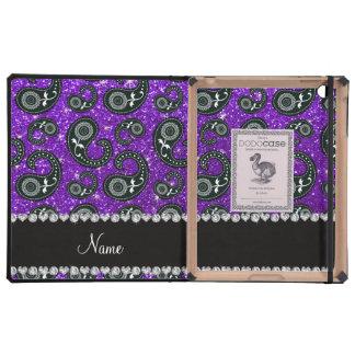 Custom name indigo purple glitter paisley cases for iPad