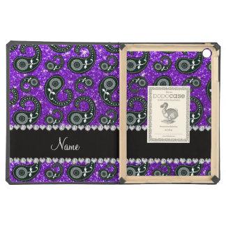Custom name indigo purple glitter paisley iPad air cover
