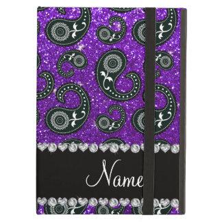 Custom name indigo purple glitter paisley iPad air cases