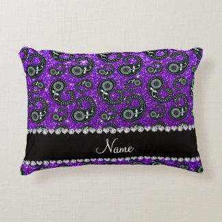 Custom name indigo purple glitter paisley accent pillow