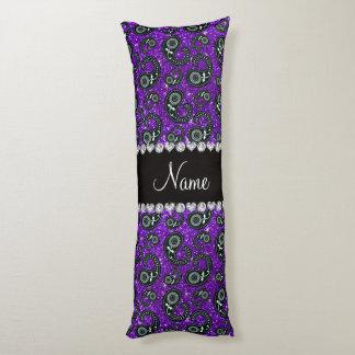Custom name indigo purple glitter paisley body pillow