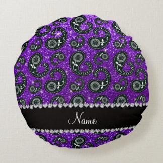 Custom name indigo purple glitter paisley round pillow