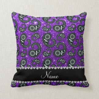 Custom name indigo purple glitter paisley throw pillow