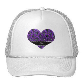 Custom name indigo purple glitter paisley trucker hat