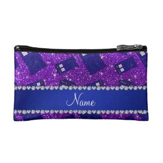 Custom name indigo purple glitter police box cosmetic bags