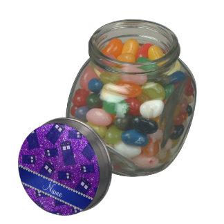 Custom name indigo purple glitter police box glass candy jars