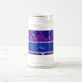 Custom name indigo purple glitter police box 18 oz beer stein