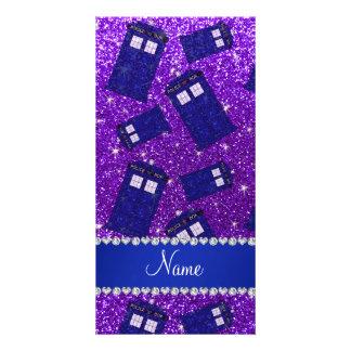 Custom name indigo purple glitter police box custom photo card