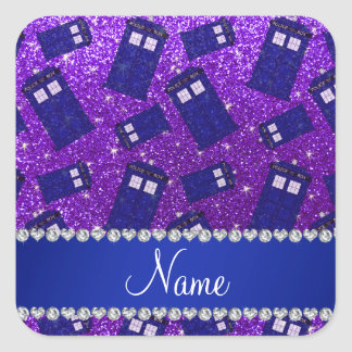 Custom name indigo purple glitter police box square sticker