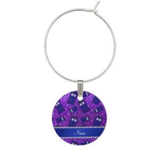 Custom name indigo purple glitter police box wine charm