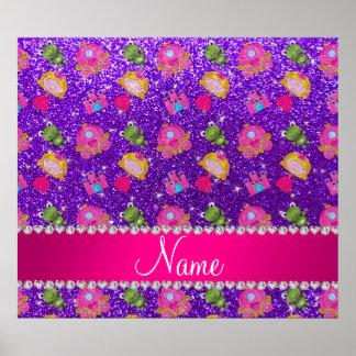 Custom name indigo purple glitter princess frogs print