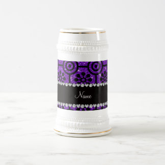 Custom name indigo purple glitter retro flowers 18 oz beer stein