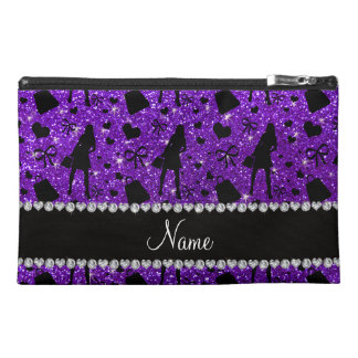 Custom name indigo purple glitter shopping pattern travel accessory bags