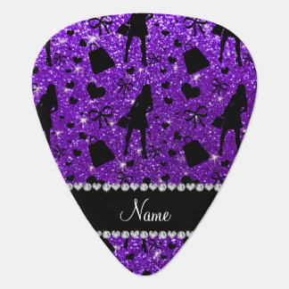 Custom name indigo purple glitter shopping pattern guitar pick