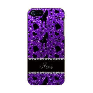 Custom name indigo purple glitter shopping pattern incipio feather® shine iPhone 5 case