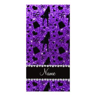 Custom name indigo purple glitter shopping pattern photo card