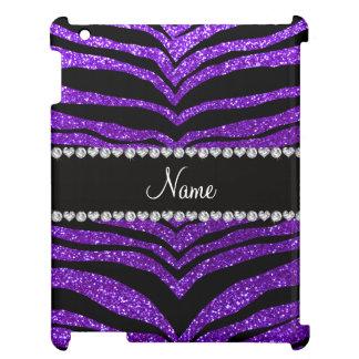 Custom name indigo purple glitter tiger stripes case for the iPad
