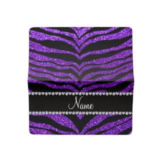 Custom name indigo purple glitter tiger stripes checkbook cover