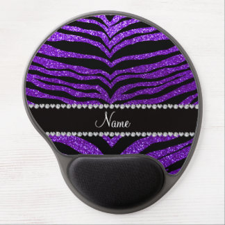 Custom name indigo purple glitter tiger stripes gel mouse mat