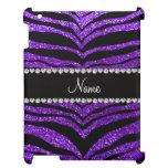 Custom name indigo purple glitter tiger stripes case for the iPad 2 3 4