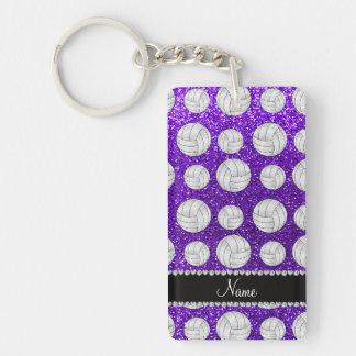 Custom name indigo purple glitter volleyballs acrylic key chains