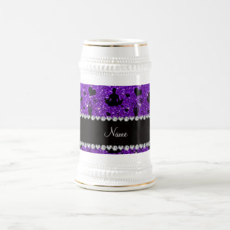 Custom name indigo purple glitter yoga hearts bows 18 oz beer stein