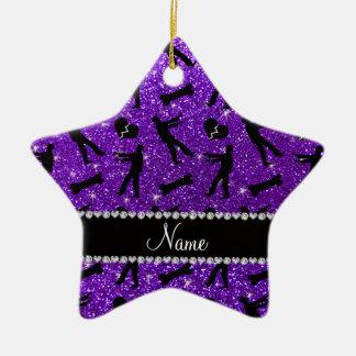 Custom name indigo purple glitter zombies Double-Sided star ceramic christmas ornament
