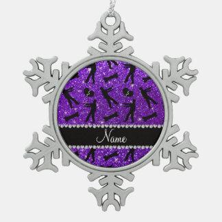 Custom name indigo purple glitter zombies snowflake pewter christmas ornament