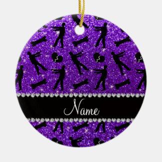 Custom name indigo purple glitter zombies Double-Sided ceramic round christmas ornament