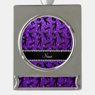 Custom name indigo purple glitter zombies silver plated banner ornament