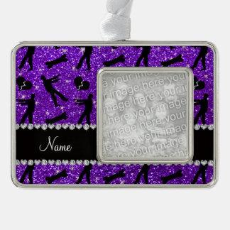 Custom name indigo purple glitter zombies silver plated framed ornament