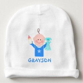 Custom Name Infant Boy Baby Beanie Hat
