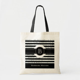 custom name/initial black/white monogram tote bag