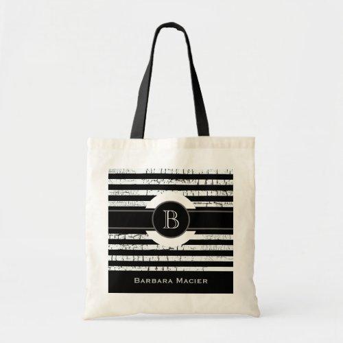 custom nameinitial blackwhite monogram tote bag