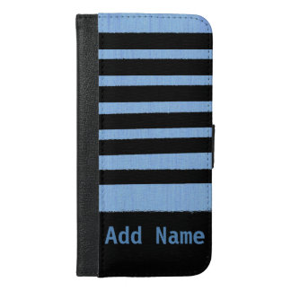 Custom Name Irregular Striped Blue and Black iPhone 6/6s Plus Wallet Case