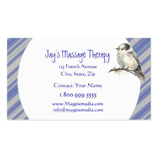 Custom Name Jay's Massage Therapy Blue Grey Stripe Business Card