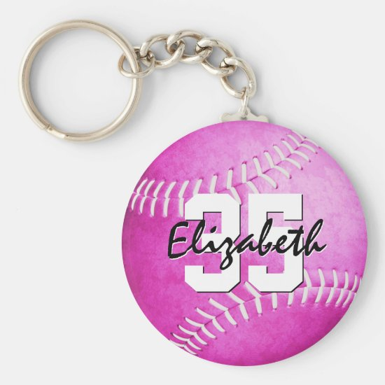 custom name jersey number girls pink softball keychain