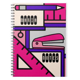 Custom name Journal Stationery Icons Pink Girls