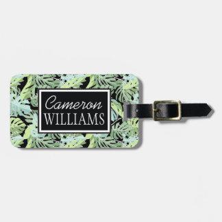 Custom Name Jungle Floral Pattern Bag Tag