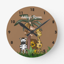 Custom Name Jungle Safari Round Clock