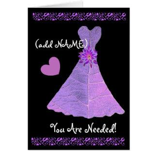 (Custom Name) JUNIOR BRIDESMAID PURPLE Gown 2 Greeting Card