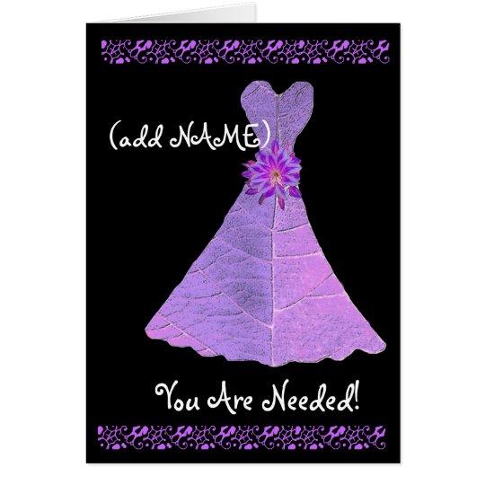 (Custom Name) JUNIOR BRIDESMAID PURPLE Gown Card