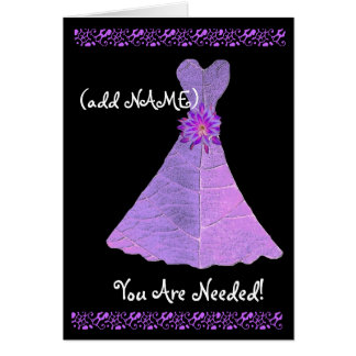 (Custom Name) JUNIOR BRIDESMAID PURPLE Gown Greeting Card