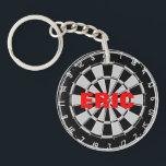 "Custom name keychain with dart board design<br><div class=""desc"">Custom name keychain with dart board design</div>"